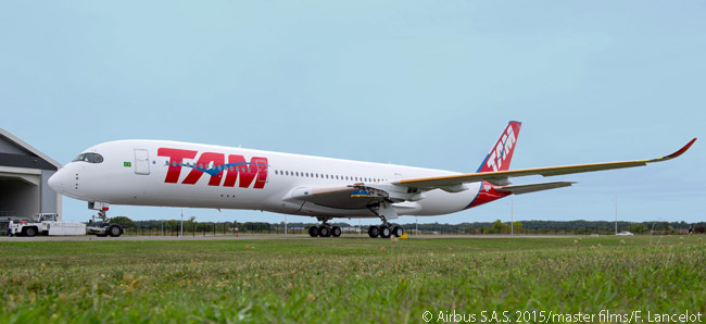 On September 16, 2015, the first A50-900 for Brazilian airline TAM rolled out of the Airbus paint shop in Toulouse, the aircraft wearing TAM's red, white and blue livery
