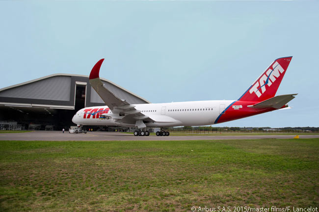 Newly rolled out of the Airbus paint shop, TAM Airlines' first Airbus A350-900 wears the carrier's distinctive livery. However, a new paint job would soon be necessary when TAM and its sister carrier LAN merged operationally to form the new, unified airline LATAM