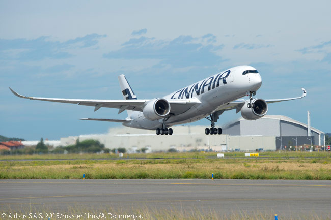 Finnair's first Airbus A350-900 made its maiden flight on September 17, 2015