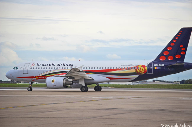 Brussels Airlines is a big fan of Belgium's national soccer team, which is nicknamed 'The Belgian Red Devils', and has given several of its aircraft – including this A320 – special Red Devils-themed liveries