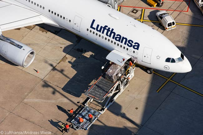 This photo from an unusual overhead angle shows Lufthansa Airbus A330-300 D-AIKD at Düsseldorf Airport
