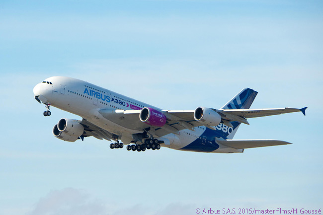 Airbus' A380 flying testbed is captured on final approach to landing on November 5, 2015 following a four-hour 14-minute first test flight of the Rolls-Royce Trent XWB-97 engine