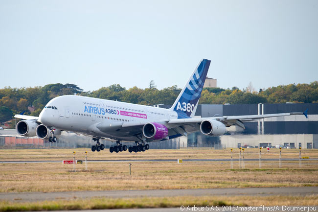 Following the first test flight of the Rolls-Royce Trent XWB-97, the engine for the A350-1000 twinjet, Airbus' A380 flying testbed lands successfully at Toulouse-Blagnac Airport