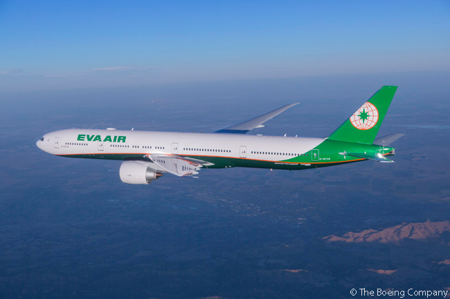 Taiwanese carrier EVA Air unveiled a new livery on November 11, 2015, when it took delivery of a leased new Boeing 777-300ER at Boeing's widebody final-assembly facility at Paine Field in Everett, near Seattle. This air-to-air photo shows the aircraft during a pre-delivery test flight