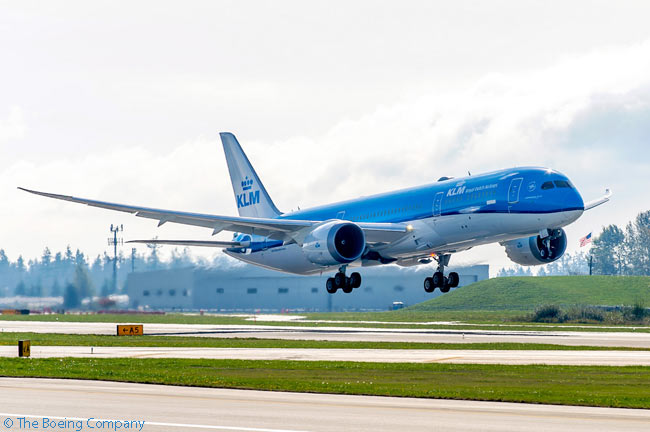 Dutch flag carrier KLM took delivery of its first Boeing 787, a 787-9 leased from AerCap, on November 14, 2015