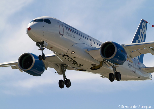 On November 17, 2015, Bombardier Commercial Aircraft announced it had completed the flight testing required for its application for a type certificate for the CS100 single-aisle commercial jet