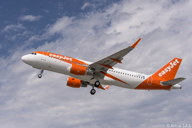 On November 17, 2015, UK low-cost carrier easyJet ordered six more A320s and 30 more A320neos. This photo shows an easyJet A320 taking off on a pre-delivery test flight from Airbus' A320-family assembly facility at Finkenwerder Airfield near Hamburg