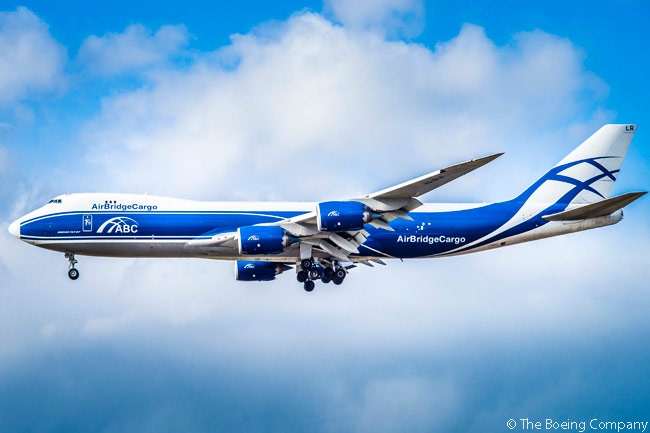 This is one of two new Boeing 747-8Fs which Russian cargo carrier AirBridge Cargo Airlines received on November 18, 2015. One of the aircraft was the 100th Boeing 747-8 delivered by Boeing