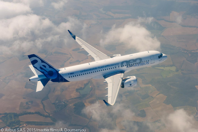 This air-to-air photo shows the first flight-test A320neo during its first flight