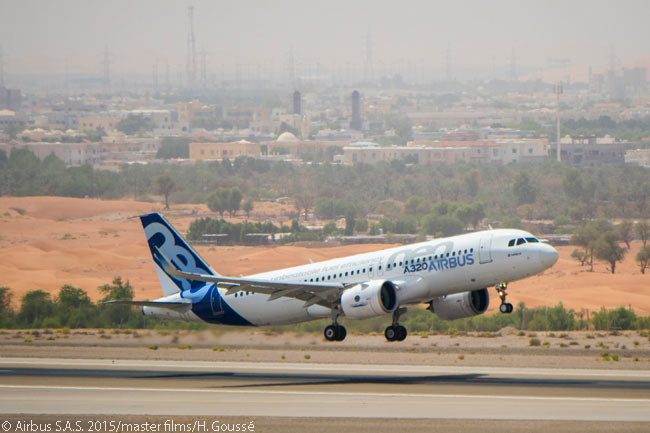 For its hot-weather testing trials, Airbus flew a flight-test A320neo powered by PW1100G-JM engines to Al Ain in the United Arab Emirates