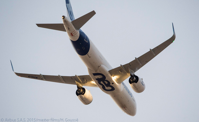 This photo shows one of the PW1100G-JM-powered flight-test A320neo aircraft during a test flight