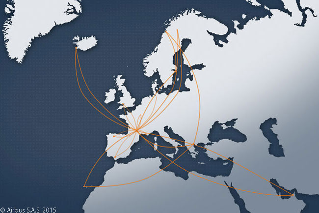 This map shows the routes on which Airbus flew the A320neo during its intensive route-proving function and reliability testing
