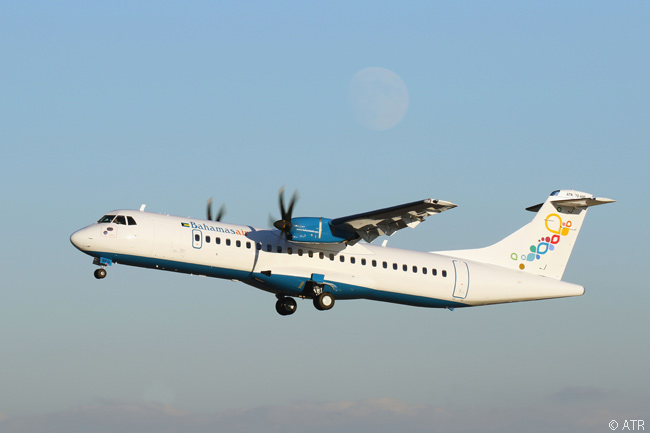 Bahamasair took delivery on November 17, 2015 of its first ATR regional airliner, a new ATR 72-600. Bahamasair ordered two ATR 72-600s and three ATR 42-600s at the Paris Air Show in June 2015. Note the nearly full moon visible in the background of this photo