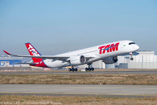 This photograph shows TAM Airlines' first Airbus A350-900 taking off on its maiden flight, on December 1, 2015
