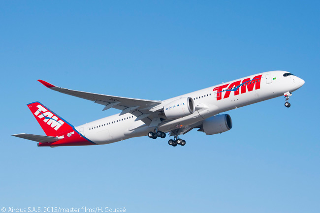 On December 1, 2015, the first Airbus A350-900 for Brazil's TAM Airlines made its first flight. TAM was eventually due to be merged with LAN Airlines to form the unified carrier LATAM