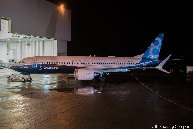 Boeing rolled out the first completed 737 MAX aircraft, a 737 MAX 8, on December 8, 2015
