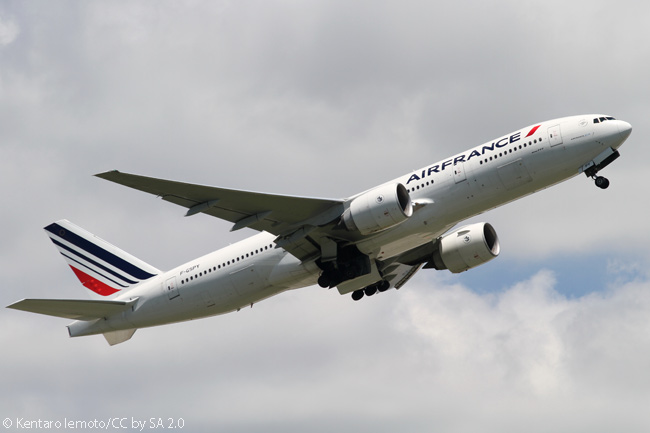 In this July 2010 photo, Air France Boeing 777-200ER F-GSPY is seen taking off from Narita International Airport near Tokyo