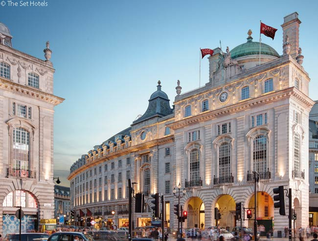 The three-year-old, 160-room Hotel Café Royal is located on Regent Street just off Piccadilly Circus, right in the heart of London's West End
