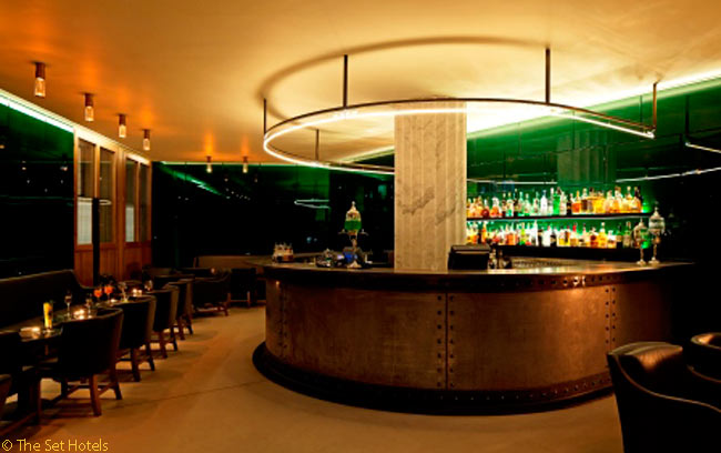 The Green Bar in London's Hotel Café Royal offers absinthe cocktails which are shocking green in color