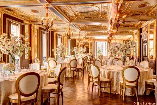 The Hotel Café Royal has two banqueting suites and four meeting, conference and social function rooms. This is the Pompadour room, set for a lunch function