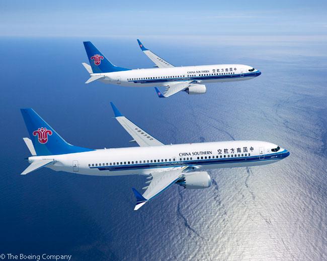 On December 17, Boeing announced that China Southern Airlines had committed to purchase 80 new Boeing 737s, 30 of them 737NGs and 50 737 MAX jets. This computer graphic image shows a 737 MAX 8 and a 737-800 in China Southern colors