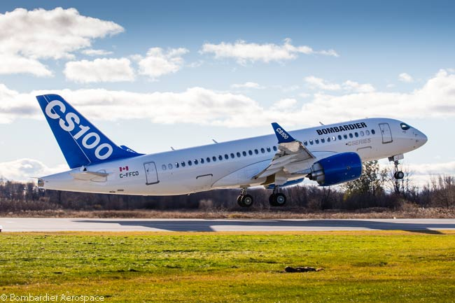 Bombardier's first flight-test CS100 is seen taking off on a test flight, in this fine action photo