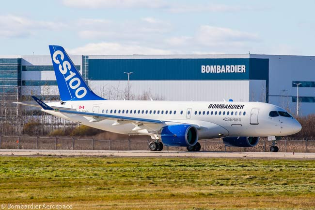 Bombardier Aerospace was awarded a Transport Canada type certificate for its CS100 110-to-130-seat commercial jet on December 18, 2015
