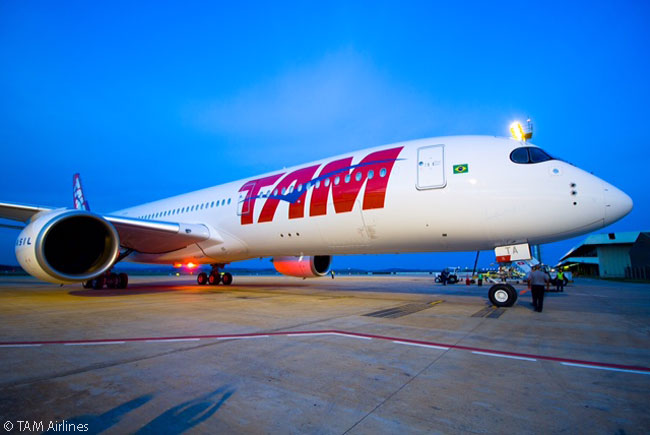 TAM Airlines' first A350-900 is shown arriving at Belo Horizonte's Confins International Airport in the early hours of December 18, 2015. There it received its Brazilian registration, PR-XTA