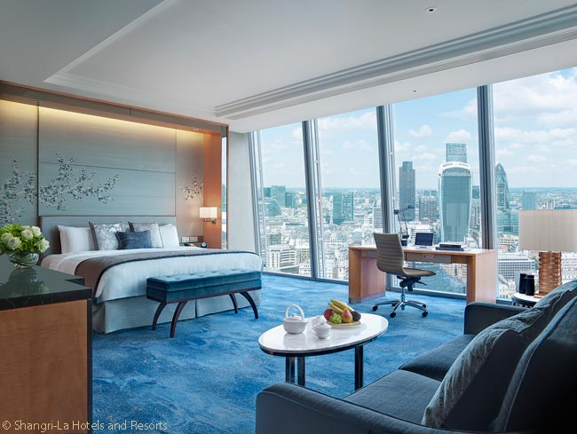 This is a premium city view room in the Shangri-La Hotel at The Shard London