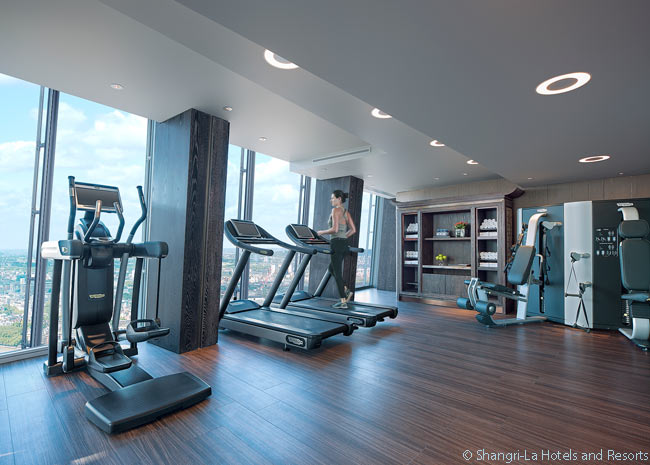 The gym in the Shangri-La Hotel at The Shard, London is located on the 52nd floor of The Shard building and offers guests wonderful views over London as they exercise