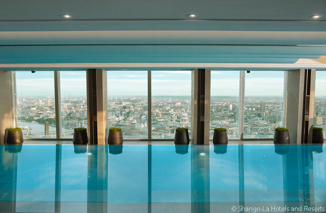 This is the Skypool at Gong. It is an infinity pool on the 52nd floor in the Shangri-La at The Shard