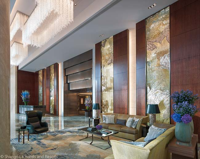 This is the welcome lobby in the Shangri-La at The Shard, London