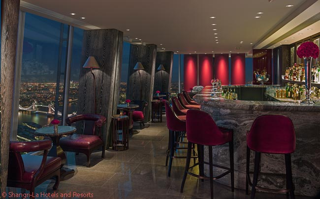 Gong, in the Shangri-La at The Shard, is the highest bar in London. Gong boasts both a Champagne bar and a cocktail bar; this photo shows the latter