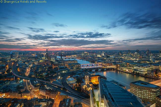 From the Shangri-La at The Shard, many of the rooms and public spaces have magnificent views over to the London Eye, the Houses of Parliament and much of northern and western London