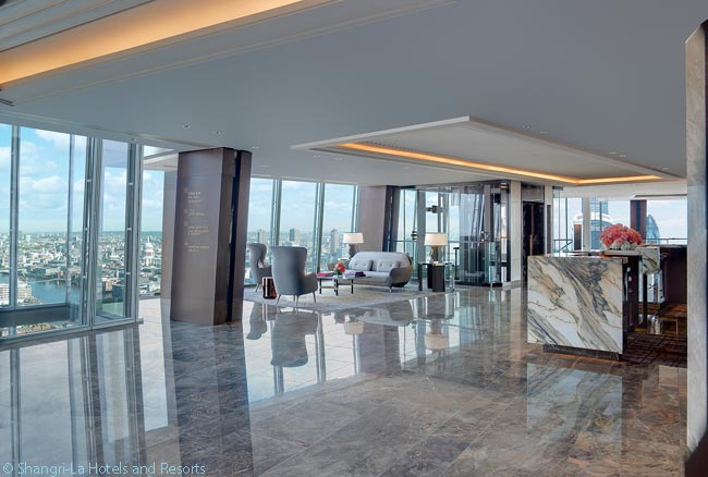 Guests staying at the Shangri-La at The Shard check in at the hotel's Sky Lobby, which is on the 35th floor of The Shard building. The hotel occupies 19 floors of The Shard, from the building's 34th to 52nd floors
