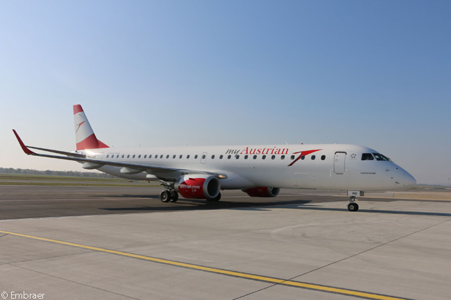 Austrian Airlines started operating Embraer 195s on scheduled commercial services on January 4, 2016, with 17 used aircraft it had acquired from Lufthansa Group sibling Lufthansa CityLine