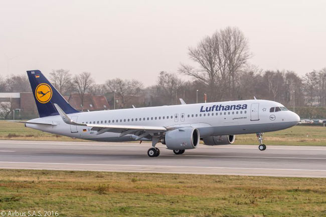 Lufthansa's first Airbus A320neo lands after a pre-delivery test flight