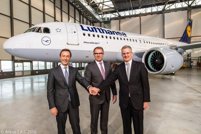 On January 20, 2016, Lufthansa took delivery of the first Airbus A320neo to be delivered to a customer. Lufthansa's first A320neos is equipped with Pratt & Whtiney PW1100G-JM geared-turbofan engines. From left to right in this photo are Fabrice Brégier, Airbus president and CEO; Carsten Spohr, chairman of the Executive Board and CEO of Deutsche Lufthansa AG; and Robert Leduc, president of Pratt & Whitney