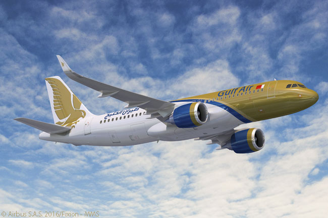 Bahrain-based Gulf Air placed an order on January 21, 2016 for two more A320neos and 17 A321neos, to add to 10 A320neos it ordered in 2012. This computer graphic image shows an A320neo in Gulf Air livery