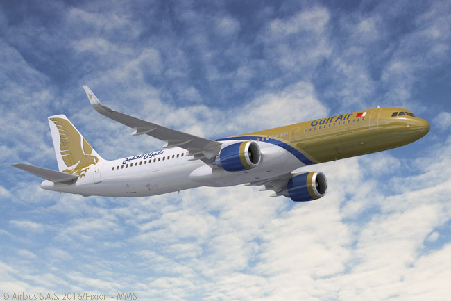 On January 21, 2016, Bahrain-based Gulf Air announced a firm order for 19 additional A320neo-family jets to add to 10 A320neos it ordered in  2012. The new order included 17 A321neos, this computer graphic image depicting an A321neo in Gulf Air's distinctive, predominantly gold-colored livery