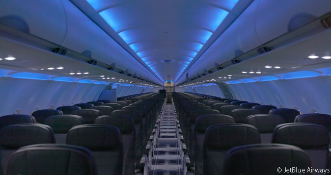 This is what the cabins of JetBlue Airways' 130 Airbus A320s will look like following the airline's cabin-refurbishment and reconfiguration program for its A320 fleet, which is due for completion in 2019