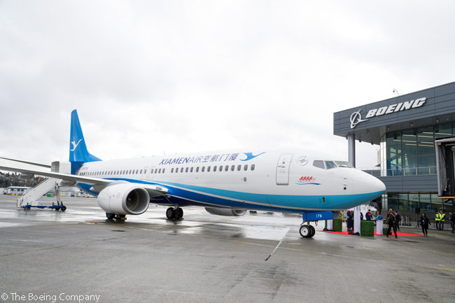 On January 28, 2016, Boeing delivered the 8,888th 737 to come off the production line. The aircraft concerned was a 737-800 for Chinese carrier Xiamen Airlines