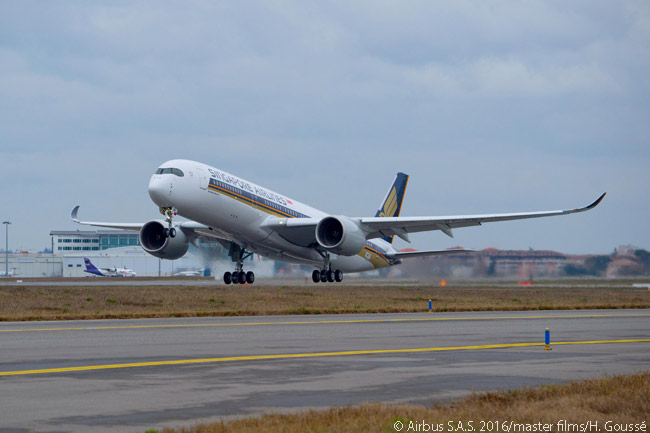 SIA's first Airbus A350-900 is shown here about to touch down at Toulouse Blagnac Airport after performing its first flight. The aircraft's maiden flight took place on February 2, 2016