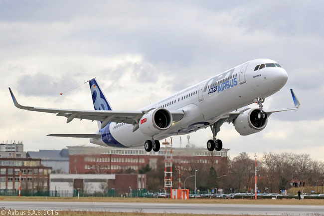 The first Airbus A321neo performed its maiden flight on February 9, 2016, from Finkenwerder Airfield near Hamburg. The aircraft was fitted with CFM LEAP-1A engines for its first flight