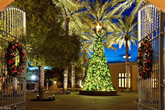 During the festive season, the Hacienda Plaza at the Fairmont Scottsdale Princess is decorated by a beautifully lit, very large Christmas tree