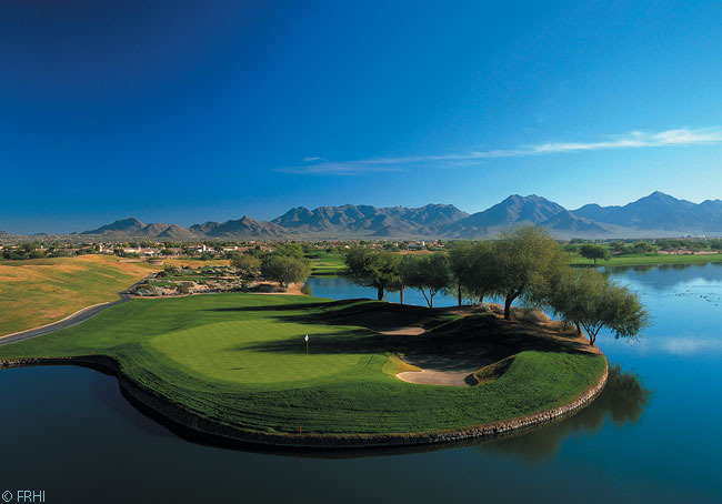 Golfing on a carefully tended, very green course is one of the major attractions and relaxations for visitors to the Fairmont Scottsdale Princess