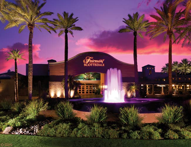 The Fairmont Scottsdale Princess offers meticulously maintained grounds flecked with ponds, trees, flowers and gently sloping, winding walkways. The hotel buildings themselves form an expansive compound