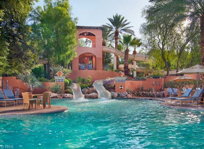 Kids can have loads of fun playing on the slides at the Fairmont Scottsdale Princess's Sonoran Splash Pool