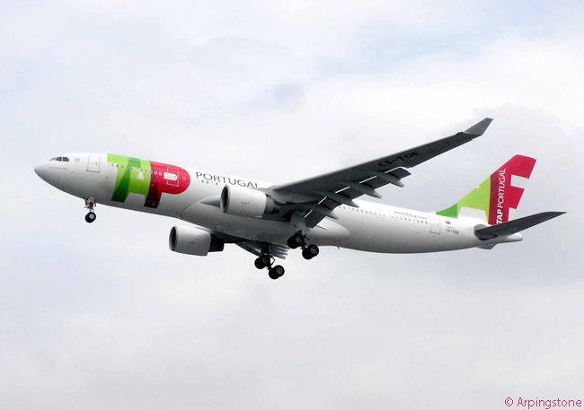TAP Portugal Airbus A330-200 CS-TOE is shown here on final approach to London Heathrow Airport