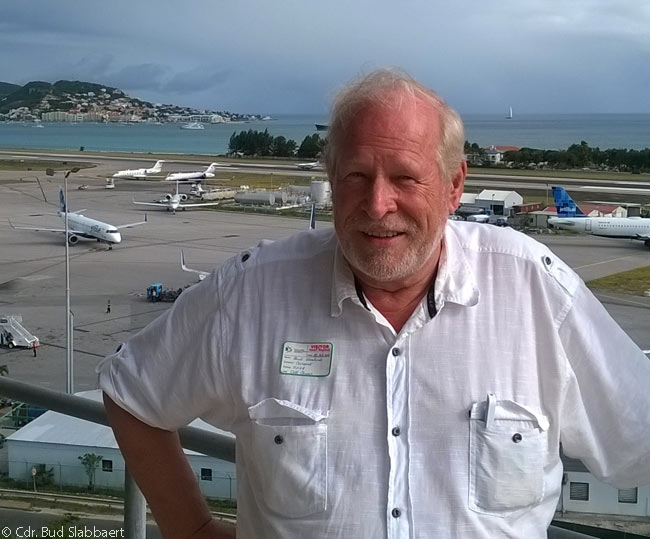 Cdr. Bud Slabbaert is seen here on the terrace of the air traffic control tower at Sint Maarten's Princess Juliana International Airport